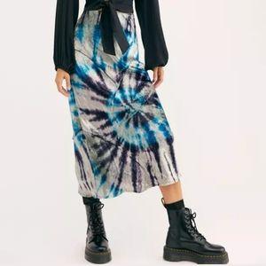 FREE PEOPLE Bali Velvet Tie-Dye Skirt XL